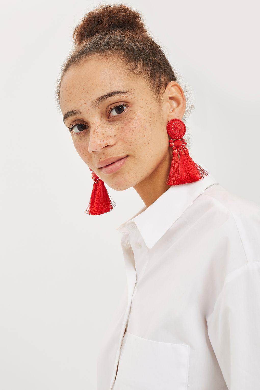 Red Bead & Tassel Earrings - Topshop  £14.00